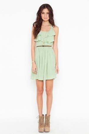 Ruffled Mint Racer Dress