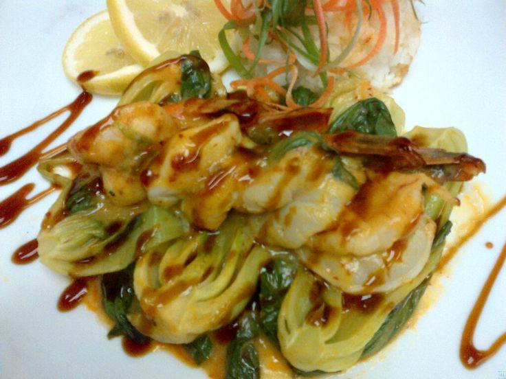 Stir fried shrimp with baby bok choy glazed with a sweet teriyaki ...