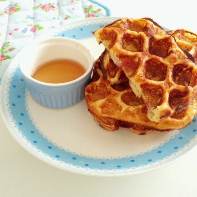 Wen's Delight: Ham and Cheese Buttermilk Waffles