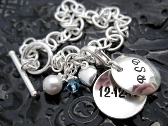 Wedding Collection - From Bride to Bouquet - Something Blue Hand Stamped Sterling Silver Bouquet Charm Bracelet by BragAboutIt
