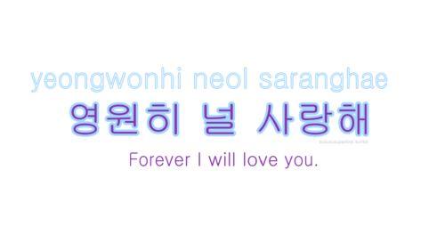 I Love You Quotes Korean : learn Korean - I will love you forever Korean words Pinterest