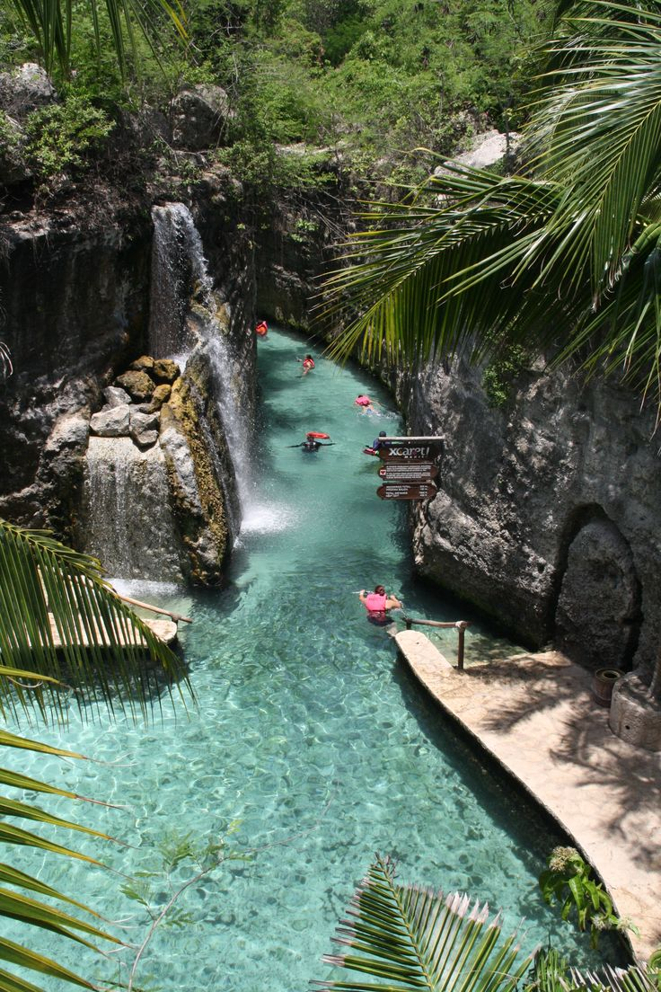 Float rivers in Mexico. Xcaret, Riviera Maya.