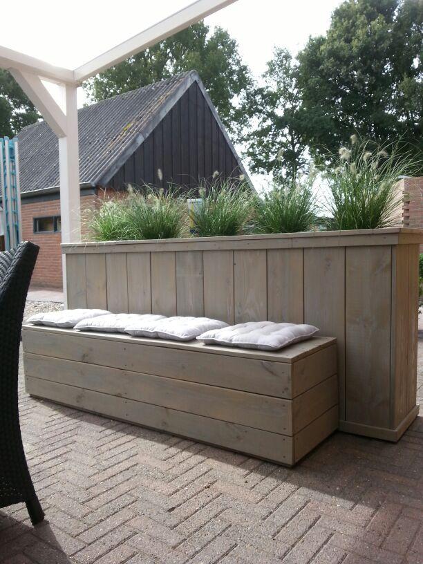 tuinbank met bloemenbak   wooninrichting   Pinterest
