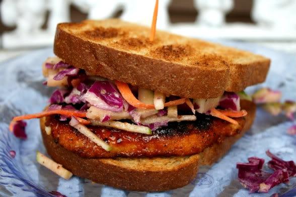 bbq chicken sandwich with apple slaw | Burgers | Pinterest