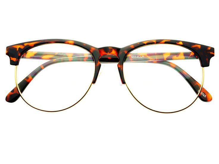 Retro Style Keyhole Large Half Frame Round Eyeglasses Dark ...