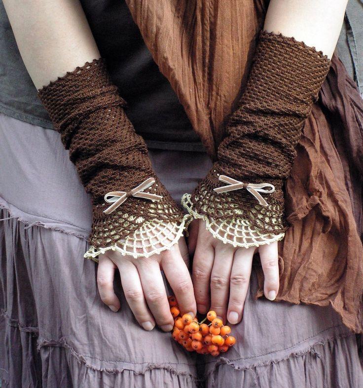 Miss Eyre - crocheted open work lacy wrist warmers cuffs