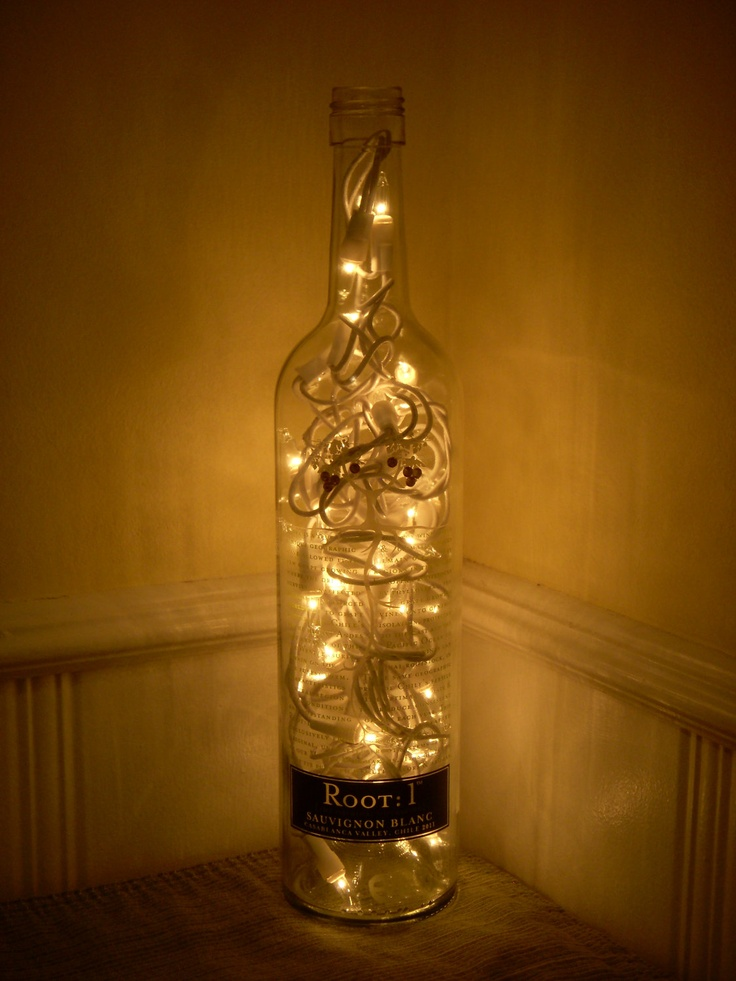 Recycled root 1 wine bottle lamp for Wine bottle patio lights
