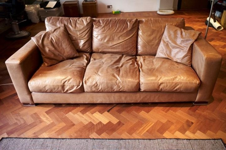 vintage worn in leather couch objects of desire pinterest