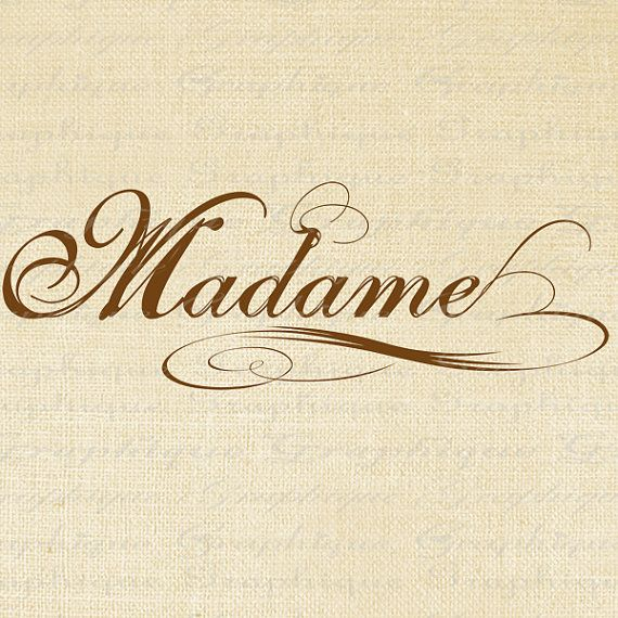 Madame french text mrs word calligraphy digital image