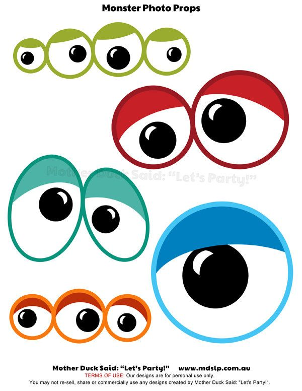 Monster Eyes Printable Photo Props - for Photo Booth Fun. $3.00, via ...