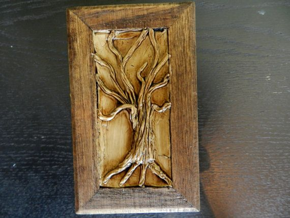 Very small rustic wooden box with tree on the hinged lid - Small rustic wooden boxes ...