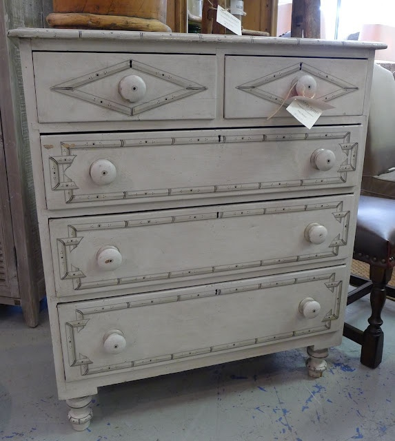 gray faux painted bamboo chest. from An Urban Cottage