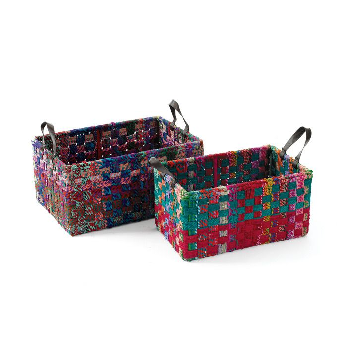 Rectangle Woven Fabric Baskets - might be able to do this by buying a ...