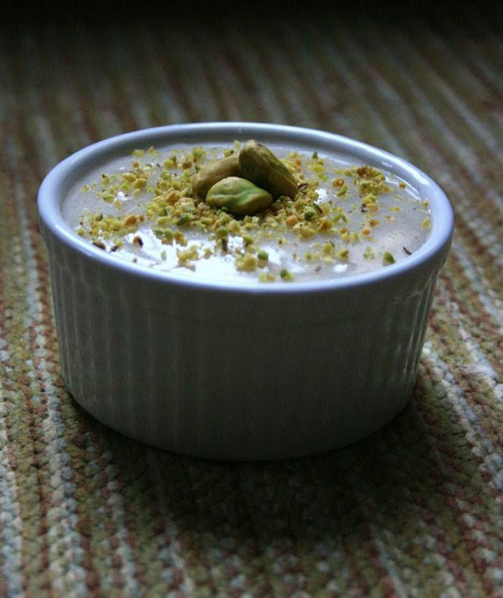 Firni rice pudding with saffron and pistachio