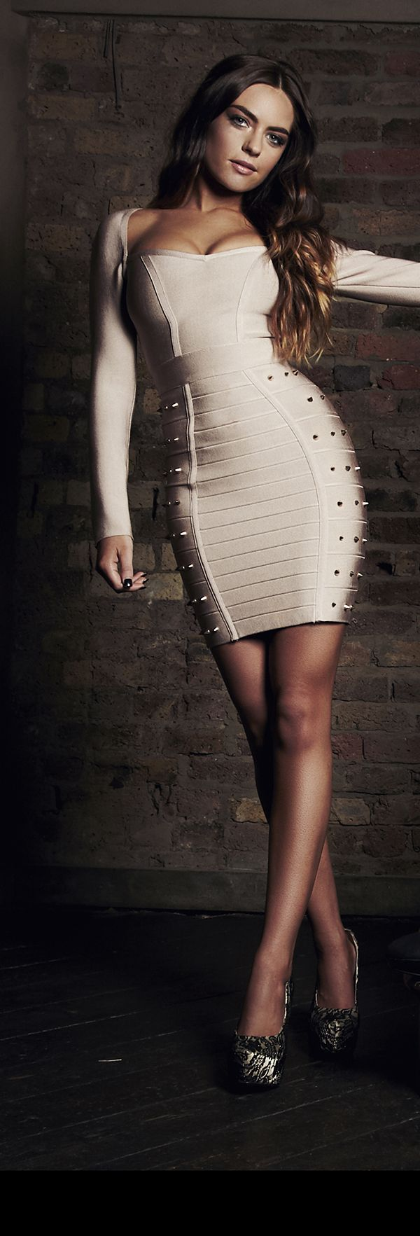 'Elisa' Nude Longsleeve Studded Bandage Dress