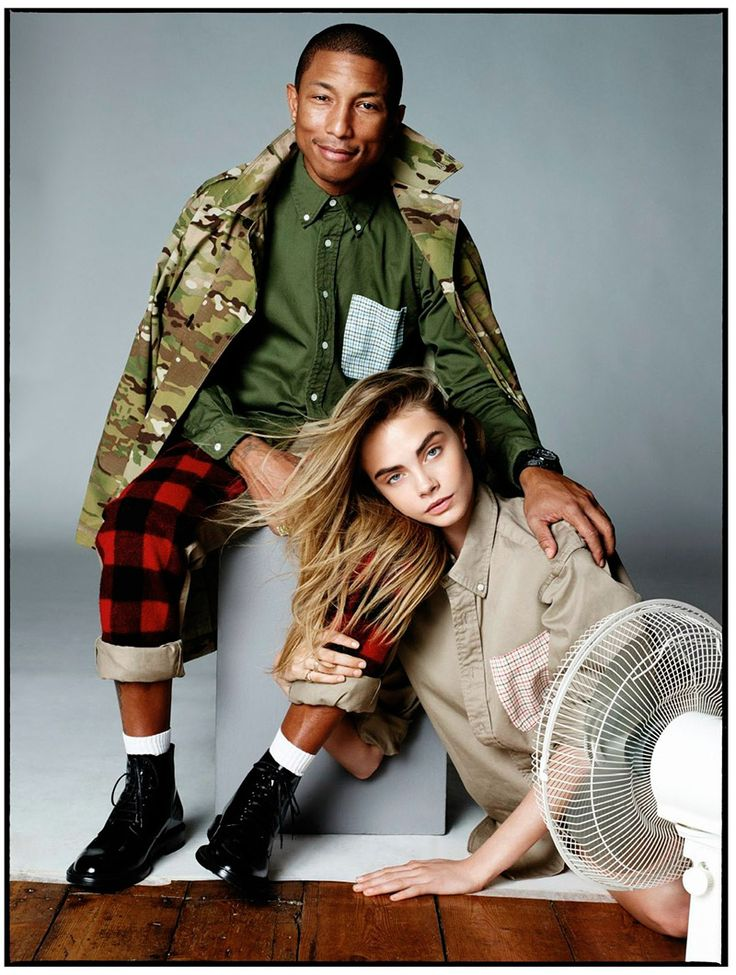 Pharrell Williams and Cara Delevingne photographed by David Bailey and styled by Kate Phelan for the September 2013 issue of Vogue UK.