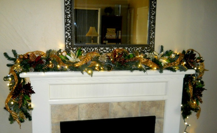 Fireplace mantel garland christmas decorations pinterest for Christmas mantel decorations garland
