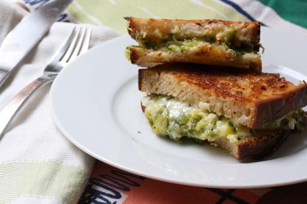 Golden Zucchini Sandwich (bread, butter, cheese, zucchini) What's not ...