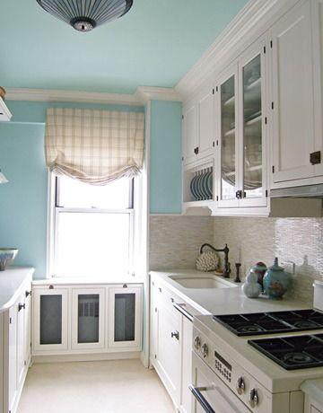 White cabinets blue walls home kitchen pinterest for Blue kitchen walls with white cabinets