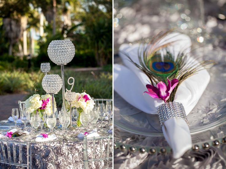 Modern purple and teal florida wedding - Purple and teal centerpieces ...