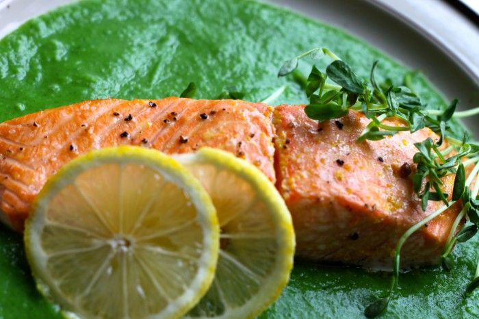 Citrus Roasted Salmon with Spring Pea Sauce - The Corner Kitchen