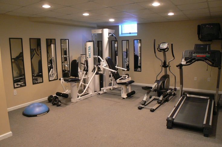 Basement home gym i like the mirrors fitness pinterest