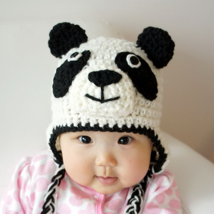 Panda Hat, Panda Bear, Crochet Baby Hat, Baby Hat, Animal Hat, Black ...