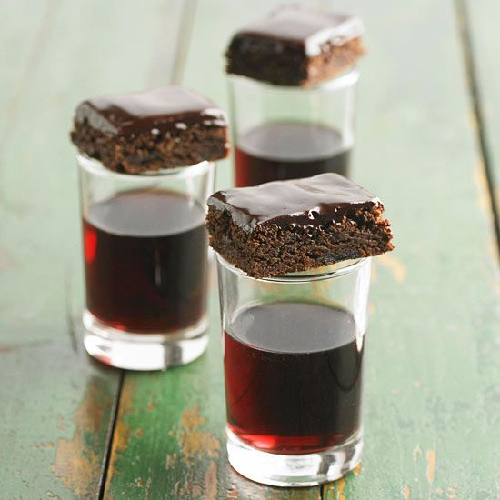 These decadent brownies and topped with red wine ganache and filled ...