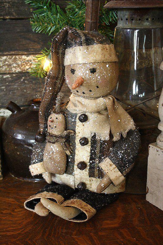 Snowman primitive christmas pinterest