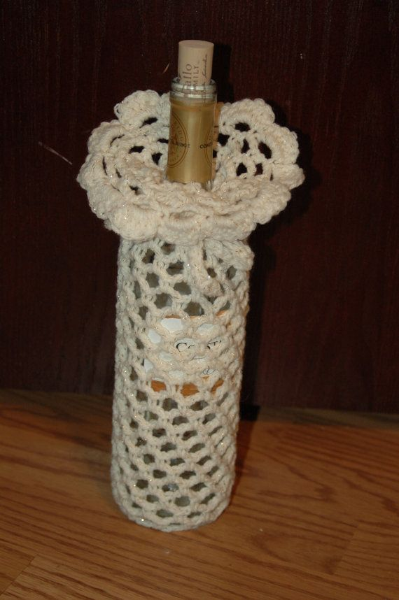Crochet Patterns Jug Covers : Crocheted wine bottle cover by CountryCreationsMN on Etsy, $8.00