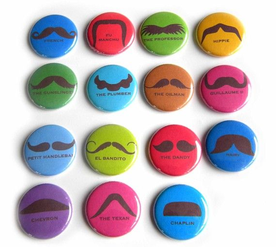 Mustache magnets from Buttons and Badges