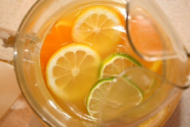 Pineapple Sangria: pinapple juice, white wine, orange, lemon, lime ...