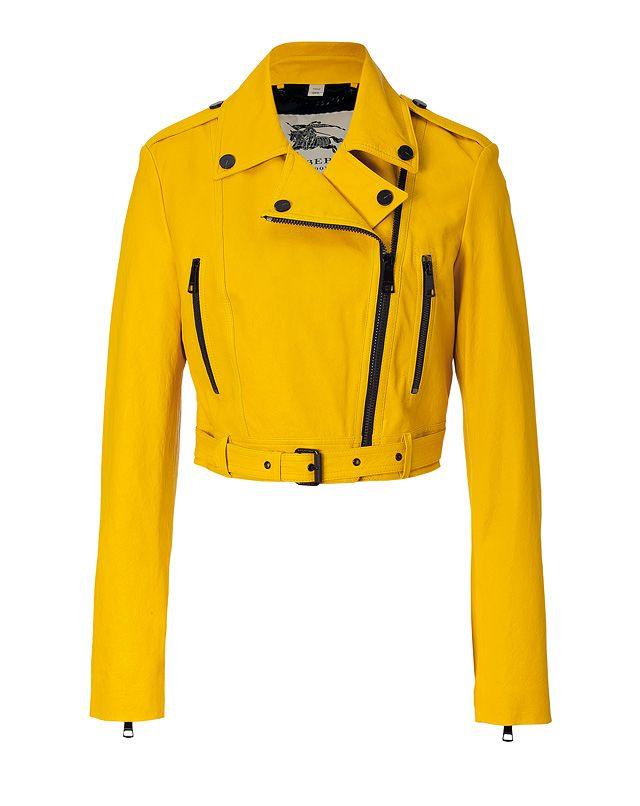 Shop now: Burberry Leather Biker Jacket in Tourmaline Yellow
