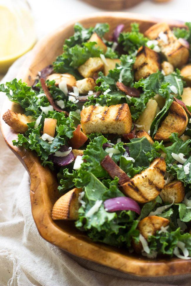 Kale Panzanella Salad - With THE BEST smokey honey mustard vinaigrette ...
