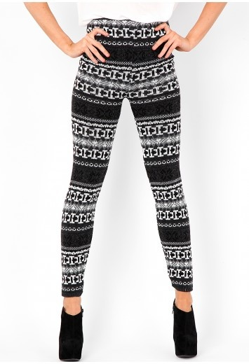 Fair Isle Sweater Knit Leggings - Sweater Grey