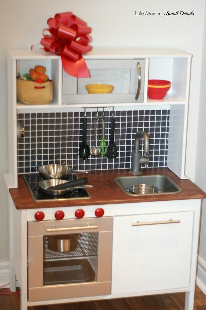 Ikea play kitchen hack oven knobs diy play kitchen pinterest - Ikea wooden kitchen playset ...