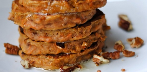 Carrot Cake Pancakes with Brown Butter and Pecans(Low Sugar)