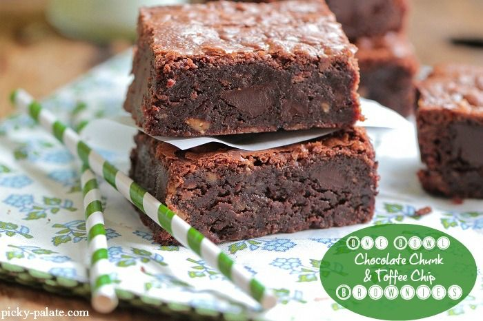 One Bowl Homemade Chocolate Chunk and Toffee Chip Brownies - Picky ...