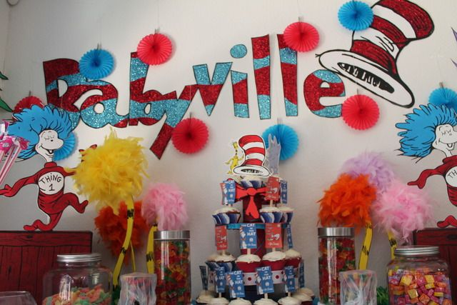 Dr seuss baby shower party ideas for Baby shower decoration ideas for twins