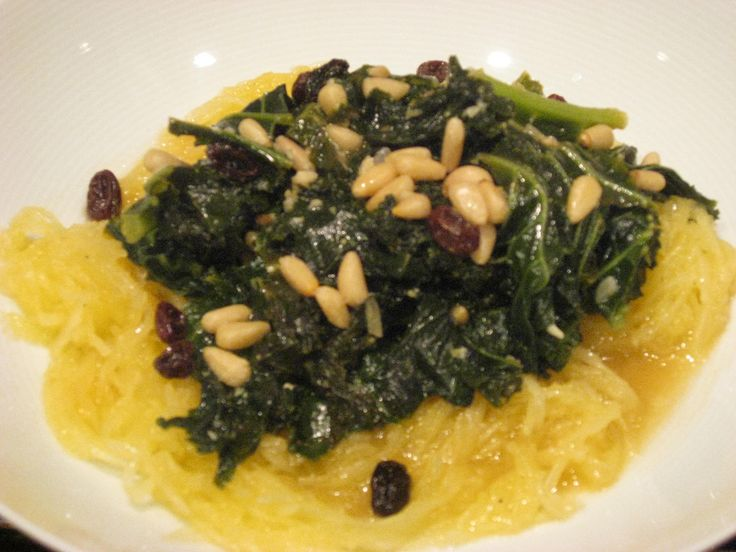 Spaghetti Squash with Spicy Braised Greens, Raisins, and Nuts