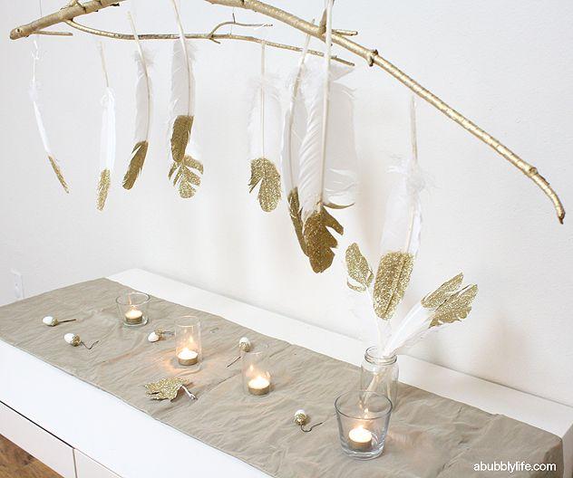 Diy glitter feathers branch chandelier diy do it pinterest