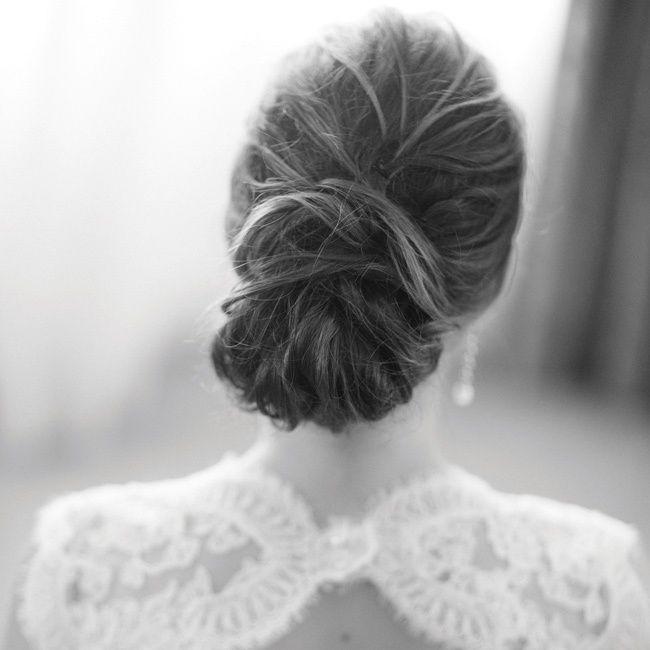 Classic and elegant bridal updo // Abby Rose Photo // Cortney Munaco--Luigi Bruni Salon // http://www.theknot.com/weddings/album/a-romantic-jewish-wedding-in-birmingham-mi-141007