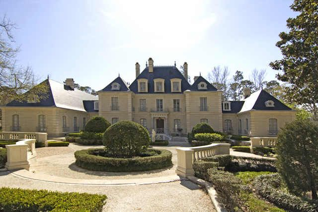 French chateau inspired house with cream exterior and for French chateau homes for sale