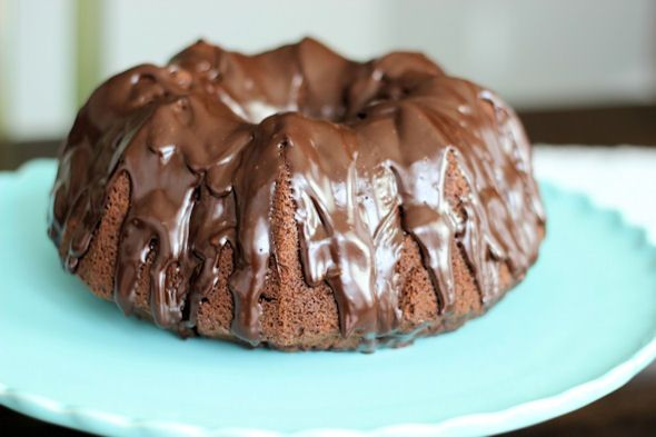 Sour Cream Bundt Cake with Chocolate Glaze #cake #dessert