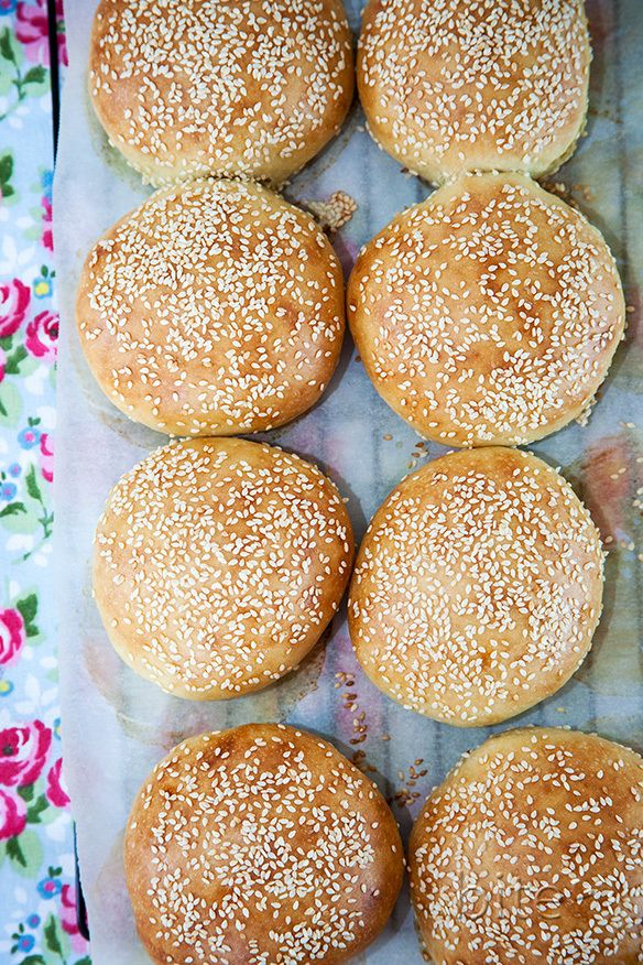 sesame seed hamburger buns on napkin | Breads and Such | Pinterest