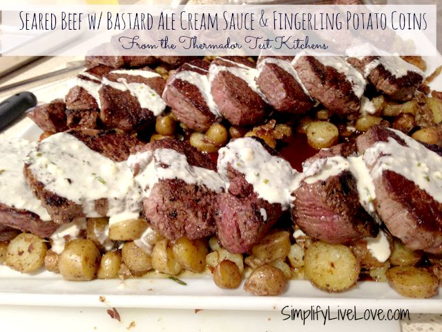Seared Beef with Bastard Ale Cream Sauce & Fingerling Potato Coins