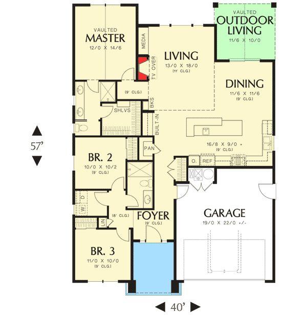 3 bedroom craftsman ranch home plan