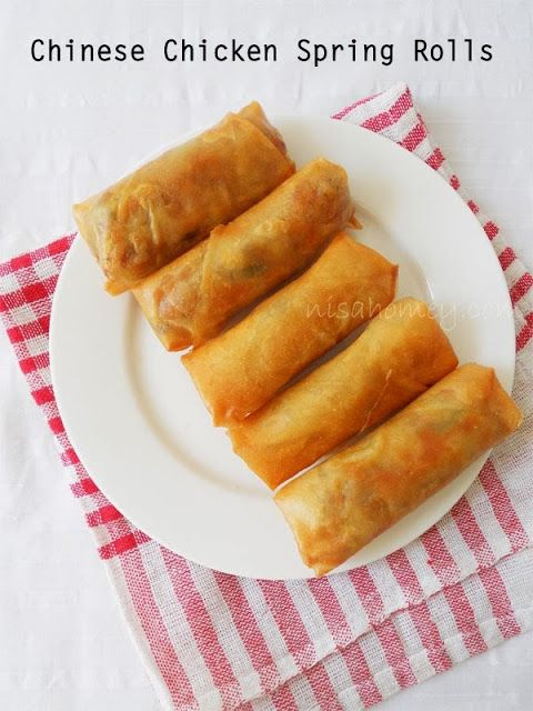 Chinese Spring Rolls with Chicken | Food | Pinterest