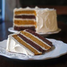 Chocolate pumpkin layer cake with spiced brown butter, vanilla bean ...