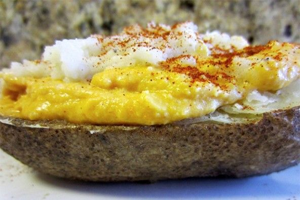 ... Twice-Baked Potatoes with cashew cheddar cheese sauce and sour cream